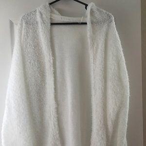 Jackets & Blazers - NWOT White furry/fuzzy cardigan jacket with hood
